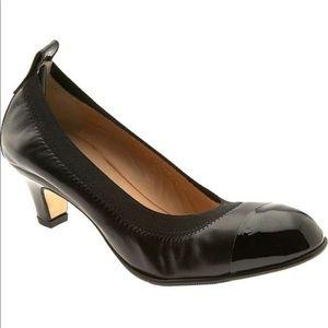 ANYI LU   Paige Black Leather Cap Toe Pump 38.5